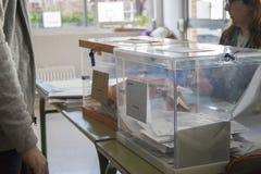 在选举团的选举缸西班牙大选天在马德里,西班牙 免版税库存图片