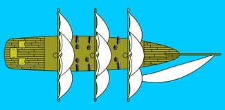 在透明传染媒介艺术上的船 免版税库存图片