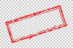 在透明作用背景的空白长方形红色不加考虑表赞同的人模板空白 库存例证