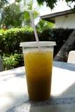 在透明塑胶容器的新鲜和冷的甘蔗汁有秸杆的 库存图片