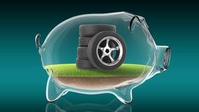 在透明存钱罐里面的橡胶轮胎 3d翻译 库存图片