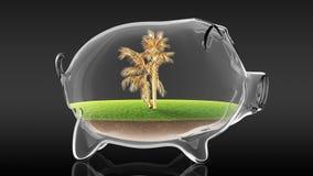 在透明存钱罐里面的金黄棕榈 3d翻译 图库摄影
