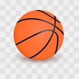 在透明方格的背景的篮球球 可实现的向量例证 免版税库存图片