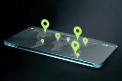 在透明智能手机屏幕上的地图和航海象 库存照片