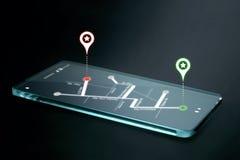 在透明智能手机屏幕上的地图和航海象 免版税库存图片