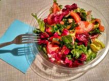 在透明板材的菜沙拉 免版税图库摄影