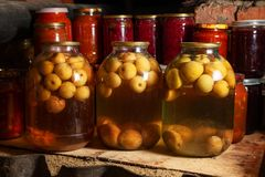 在透明玻璃瓶子的罐装菜 在大透明瓶子的苹果计算机蜜饯 自创罐装汁液 免版税库存图片
