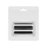 在透明的黑碱性AA电池被包装的 库存图片