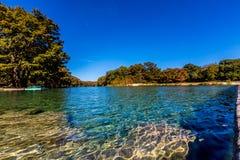 在透明的Frio河的明亮的美丽的秋叶 免版税库存图片
