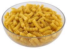 在透明碗的意大利面食 库存图片