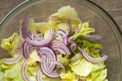 在透明碗的新鲜蔬菜沙拉在亚麻布 库存图片