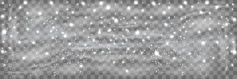 在透明背景和一点雪隔绝的降雪 大雪、雪花用不同的形状和形式 覆盖天空 向量例证