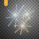 在透明背景的五颜六色的烟花爆炸 白色、金子和黄灯 新年、生日和假日 免版税库存图片