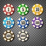 在透明背景的五颜六色的赌博娱乐场芯片 免版税库存图片