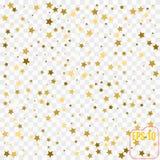在透明背景的传染媒介金黄五彩纸屑 落的金子 库存图片