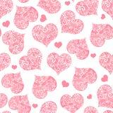 在透明背景的单色桃红色无缝的华伦泰样式 免版税库存照片