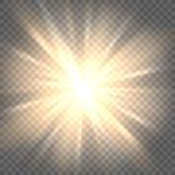 在透明背景的太阳光芒 皇族释放例证