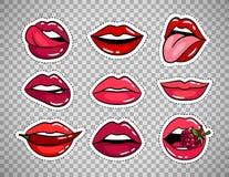 在透明背景的女性嘴唇补丁 库存例证
