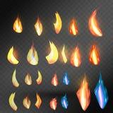 在透明背景的怒火火焰 为使用在轻的背景 仅透明度以传染媒介格式 皇族释放例证