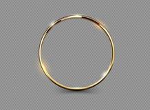 在透明背景的抽象豪华金黄圆环 传染媒介轻的圈子聚光灯光线影响 金子颜色圆的框架 皇族释放例证