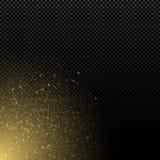 在透明背景的抽象金黄闪闪发光 不可思议的砂金和强光侧视图 y的圣诞节尘土图表元素 向量例证