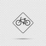 在透明背景的标志自行车交通警报信号 向量例证