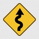 在透明背景的正确的弯曲道路标志 皇族释放例证