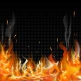 在透明背景的灼烧的火火焰 库存例证