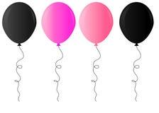 在透明背景的现实光滑的金黄,紫色,黑白气球传染媒介例证 气球为生日,fes 向量例证