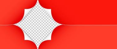 在透明背景的现实红色纸角落 图库摄影