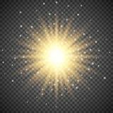 在透明背景的白色发光的轻的爆炸爆炸 与光芒闪闪发光的明亮的火光作用装饰 向量例证
