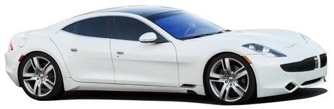在透明背景的白色跑车 免版税库存照片