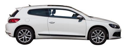 在透明背景的白色VW scirocco 图库摄影