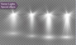 在透明背景的聚光灯 轻的闪光的鬼作用与光的和不可思议的光华 皇族释放例证