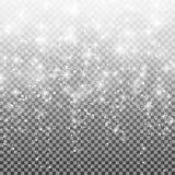 在透明背景的落的雪 传染媒介例证10 eps 抽象白色闪烁雪花背景 免版税库存图片