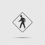 在透明背景的行人交叉路标志 库存例证