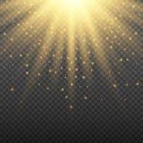 在透明背景的金子发光的轻的爆炸爆炸 与光芒闪闪发光的明亮的火光作用装饰 库存例证