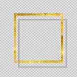 在透明背景的金油漆闪烁的织地不很细框架 也corel凹道例证向量 免版税库存图片