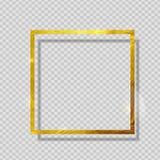 在透明背景的金油漆闪烁的织地不很细框架 也corel凹道例证向量 库存照片