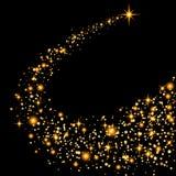 在透明背景的金闪烁的星团足迹闪耀的微粒 空间彗星尾巴 传染媒介魅力时尚 库存照片