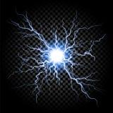 在透明背景的闪电一刹那轻的雷 向量例证
