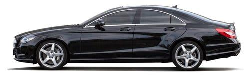 在透明背景的黑奔驰车 免版税库存照片