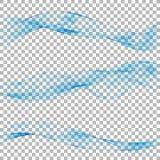 在透明背景设置的抽象蓝色波浪 也corel凹道例证向量 免版税库存照片