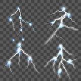 在透明背景设置的闪电 向量 库存例证