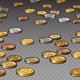 在透明背景隔绝的不同的硬币 无缝的边界 库存例证