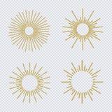 在透明背景隔绝的传染媒介镶有钻石的旭日形首饰的金子闪烁样式集合 库存照片