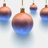 在透明背景隔绝的储蓄传染媒介例证圣诞节球两颜色 10 eps 免版税库存照片