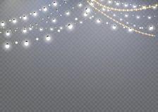 在透明背景隔绝的圣诞灯 圣诞节发光的诗歌选 装饰新年和圣诞节 光E 向量例证