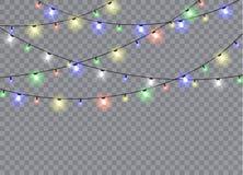 在透明背景隔绝的圣诞灯 库存例证