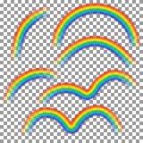 在透明背景隔绝的套不同的彩虹 现实彩虹形状 传染媒介illu 库存例证